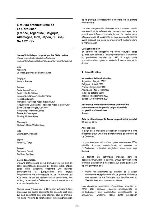 Empfehlung zur Einschreibung in die Welterbeliste von ICOMOS 2016 (französisch)