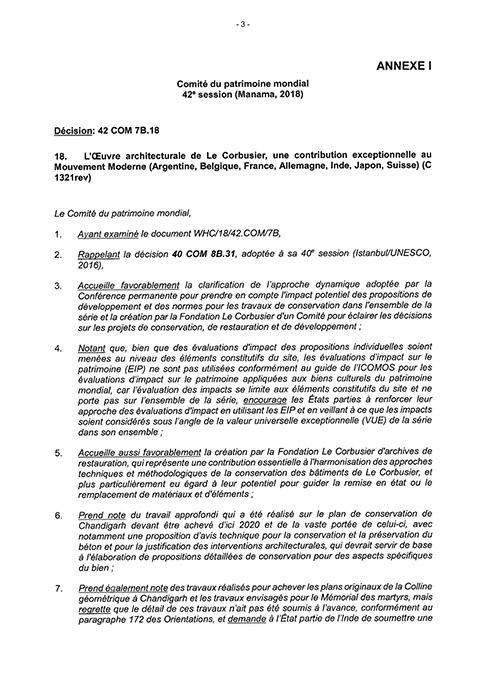 Entscheidung des Welterbekomitees 2018 (Décision: 42 COM 7B.18, französisch)